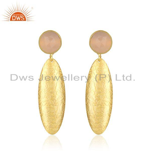 Handmade Texture Gold Plated Brass Rose Chalcedony Gemstone Earrings Jewelry