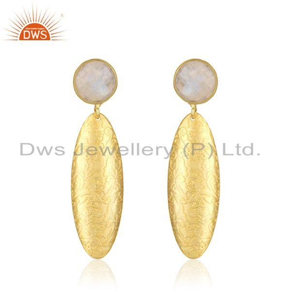 Rainbow Moonstone Handmade Gold Plated Brass Fashion Earrings Jewelry