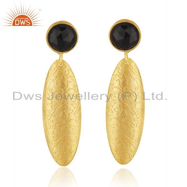 Indian Black Onyx Gemstone Textured Gold Plated Brass Handmade Fashion Earrings