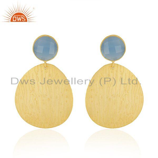 Manufacturer Designer Gold Plated Brass Blue Chalcedony Gemstone Fashion Earring