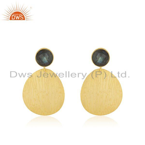Labradorite Gemstone Gold Plated Brass Fashion Girls Earrings Jewelry Wholesaler