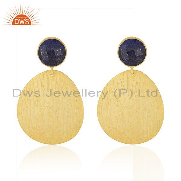 Designer Gold Plated Brass Lapis Gemstone Fashion Earrings Supplier