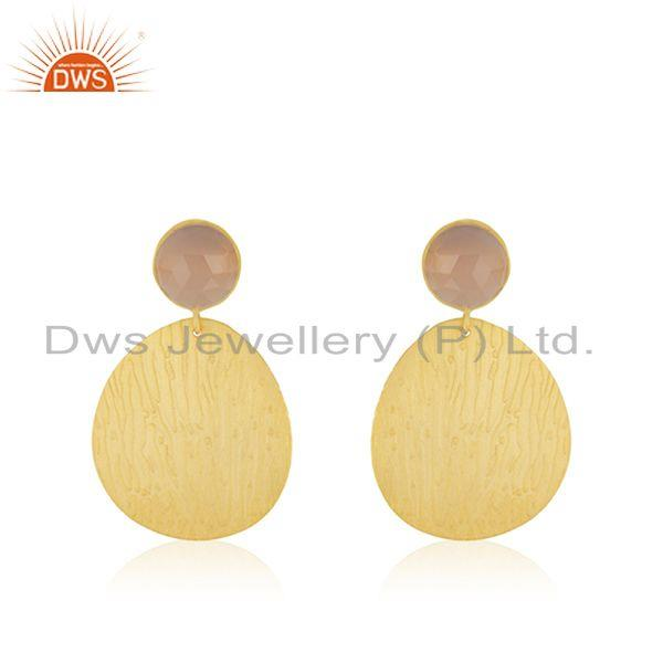 Indian Handmade Brass Yellow Gold Plated Fashion Gemstone Earrings for Girls