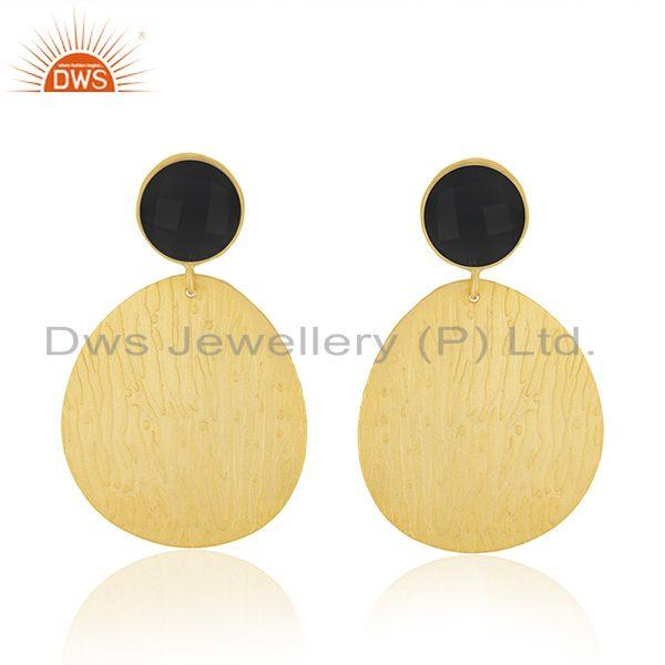 Black Onyx Gemstone Texture Gold Plated Handmade Fashion Earrings Jewelry
