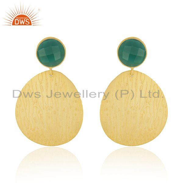 Green Onyx Gemstone Handmade Gold Plated Texture Fashion Earrings Jewelry