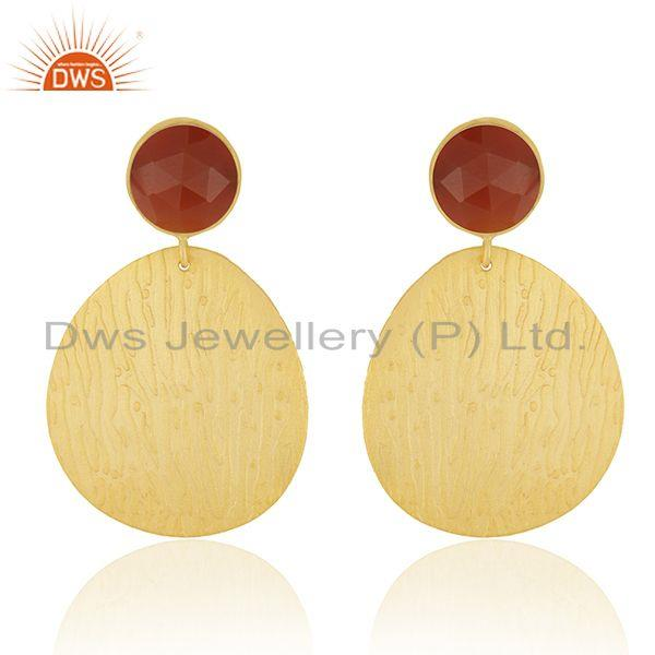 Texture Gold Plated Brass Designer Red Onyx Gemstone Fashion Earrings Jewelry