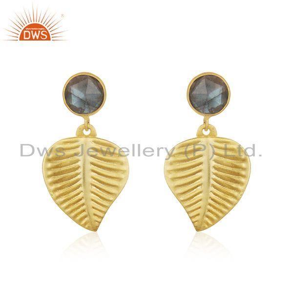 Leaf Design Gold Plated Brass Labradorite Gemstone Fashion Earrings Jewelry