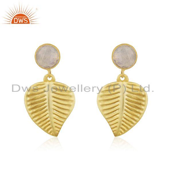 Wholesale Brass Leaf Design Rainbow Moonstone Earrings Jewelry Supplier