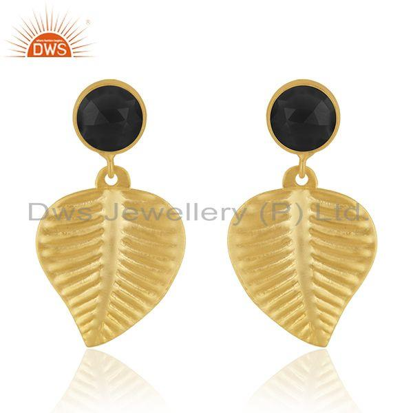 Leaf Shape Gold Plated Brass Fashion Black Onyx Earrings Jewelry Supplier