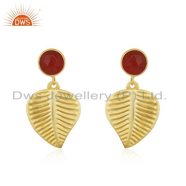 Wholesale Gold Plated Designer Brass Red Onyx Gemstone Earrings Jewelry