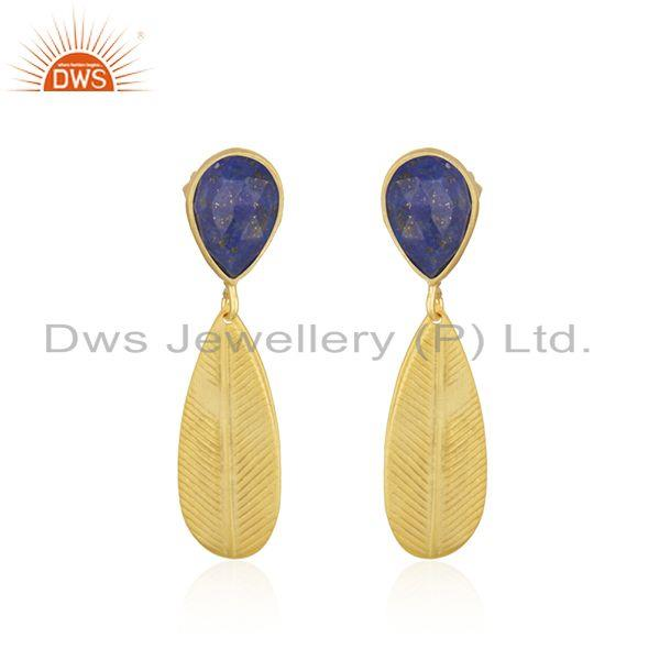 Handmade Gold Plated Brass Fashion Lapis Gemstone Fashion Earrings Jewelry