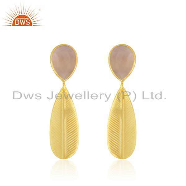 Rose Chalcedony Gemstone Designer Brass Gold Plated Fashion Earrings Jewelry