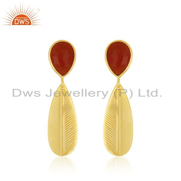 Handmade Design Gold Plated Brass Red Onyx Gemstone Earrings Jewelry