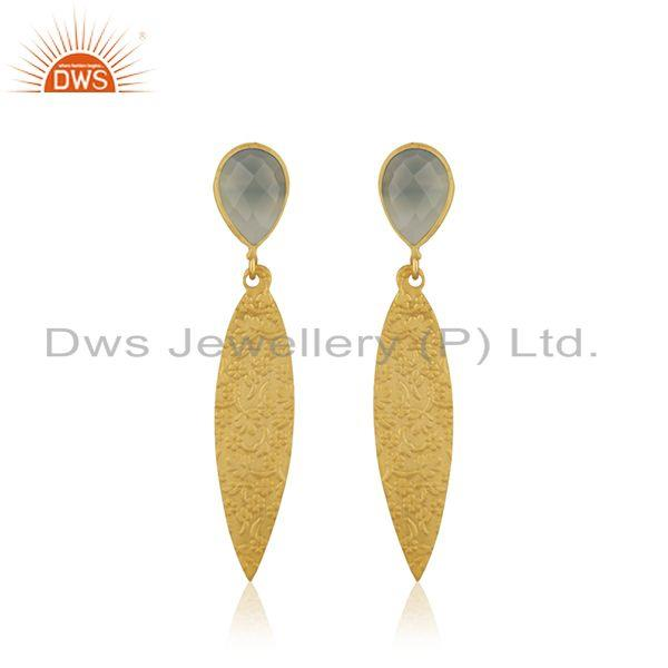 Indian Gold Plated Brass Designer Aqua Chalcedony Earrings Jewelry