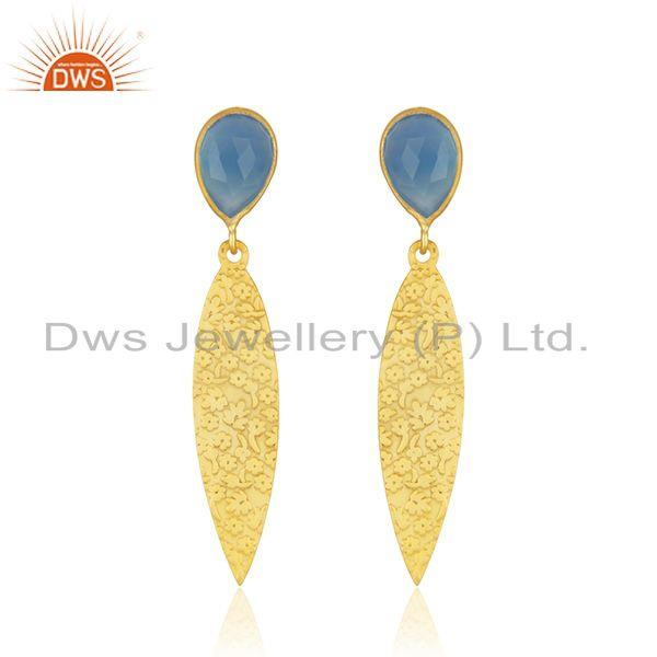 Texture Designer Gold Plated Brass Blue Chalcedony Gemstone Earrings Jewelry
