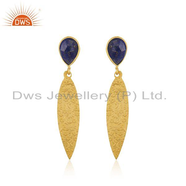Wholesale Lapis Gemstone Brass Fashion Designer Earrings Jewelry Supplier