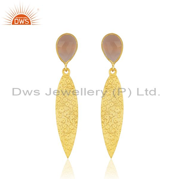 Manufacturer Texture Brass Fashion Rose Chalcedony Gemstone Earrings Jewelry