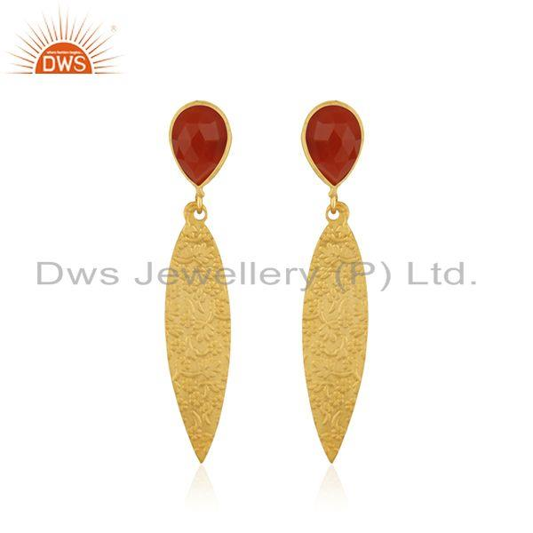 Red Onyx Gemstone Designer Texture Brass Earrings Fashion Jewelry