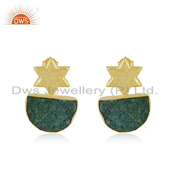 Handcrafted Floral Design Druzy Green Gemstone Earrings Wholesaler India