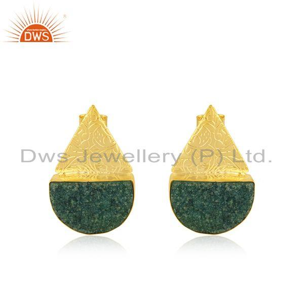 Indian Handcrafted Brass Fashion Gold Plated Green Gemstone Stud Earrings