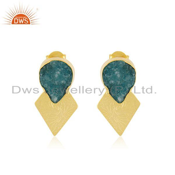 Green Druzy Gemstone Gold Plated Floral Design Stud Earrings For Womens