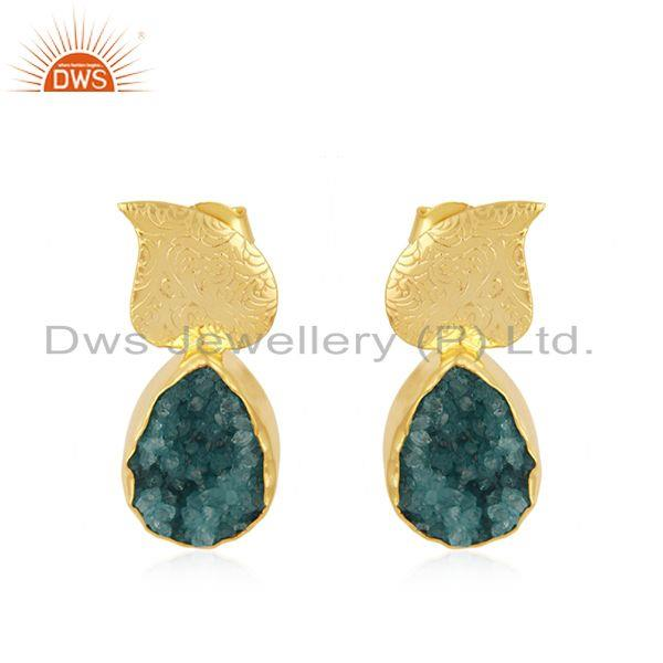 Handmade Gold Plated Brass Fashion Green Druzy Stud Earrings Wholesaler