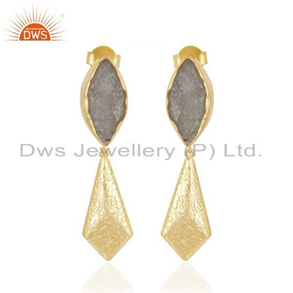 White Druzy Gemstone Gold Plated Brass Fashion Handmade Earrings