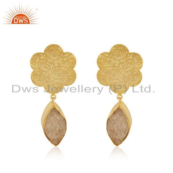 Designer Gold Plated Brass Fashion White Druzy Gemstone Drop Earrings Wholesale