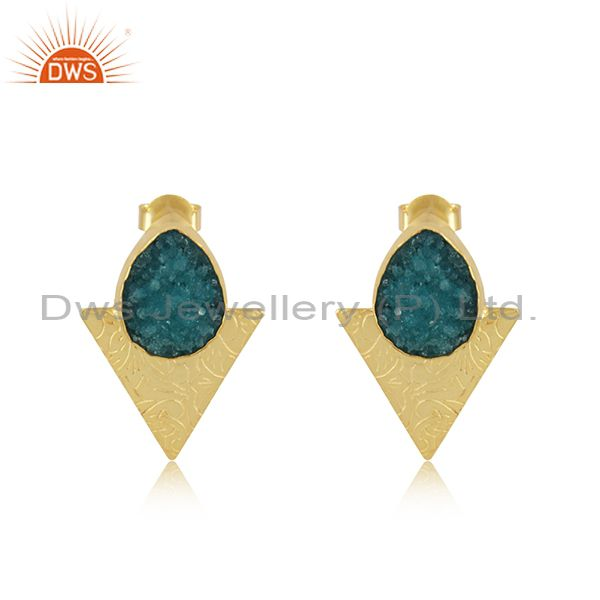 Triangle Design Gold Plated Brass Fashion Green Gemstone Stud Earrings Suppliers