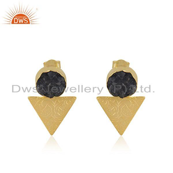 Designer Yellow Gold Plated Brass Fashion Druzy Gemstone Stud Earrings for Girls