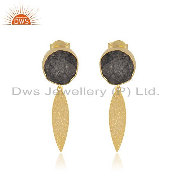 Indian Handmade Gold Plated Brass Fashion Gemstone Dangle Earrings Manufacturer