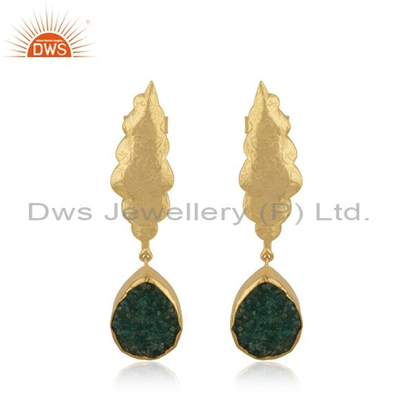 Green Druzy Gemstone Floral Design Brass Gold Plated Dangle Earrings manufacture