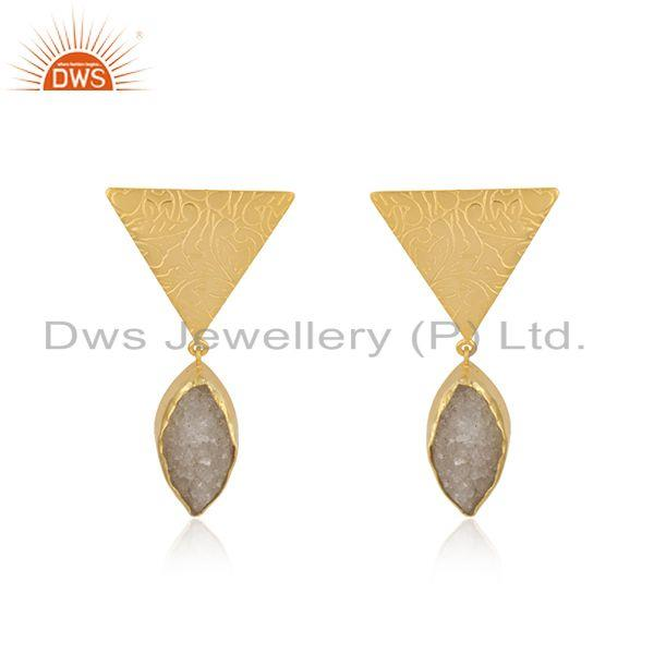 White Druzy Yellow Gold Plated Brass Fashio Floral Design Earring Manufacturer