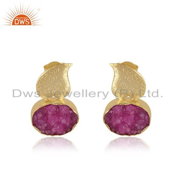 Druzy Pink Gemstone Gold Plated Brass Fashion Floral Earrings Manufacturer India