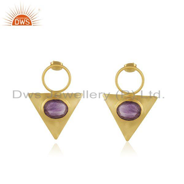 Yellow GOld Plated Brass Fashion Triangle Earrings Manufacturer from india