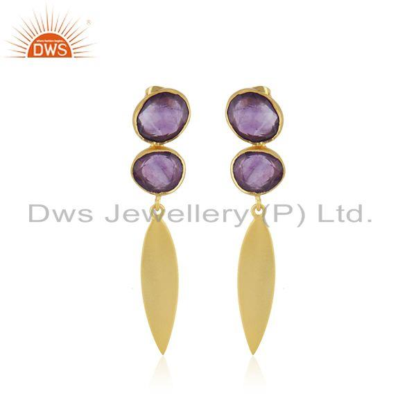 Amethyst Gemstone Yellow Gold Plated Brass Fashion Earrings Manufacturer INdia