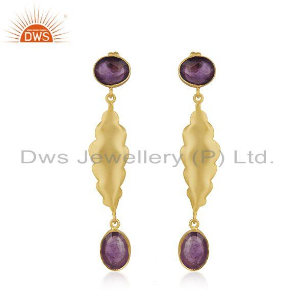 Amethyst Gemstone Yellow Gold Plated Brass Fashion Earrings Wholesaler