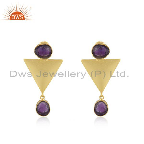 Triangle Design Gold Plated Brass Fashion Amethyst Gemstone Earrings Manufacture