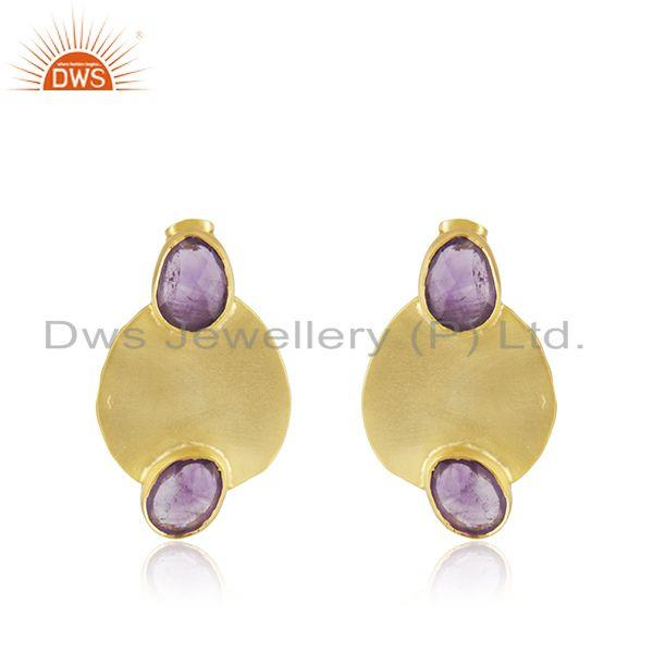 Amethyst Gemstone Gold Plated Brass Fashion Earrings Manufacturer India