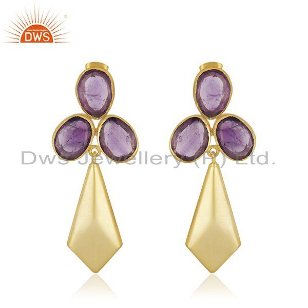 Amethyst Gemstone 14k Gold Plated Brass Fashion Girls Earrings Manufacturer