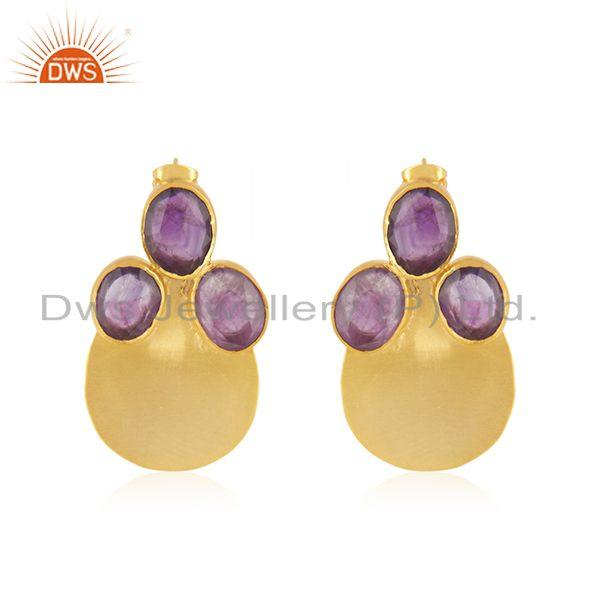 Amethyst Gemstone Gold Plated Brass Fashion Stud Earrings Wholesaler India