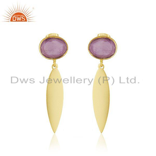 Handmade Brass Yellow Gold Plated Amethyst Gemstone Fashion Earrings Supplier