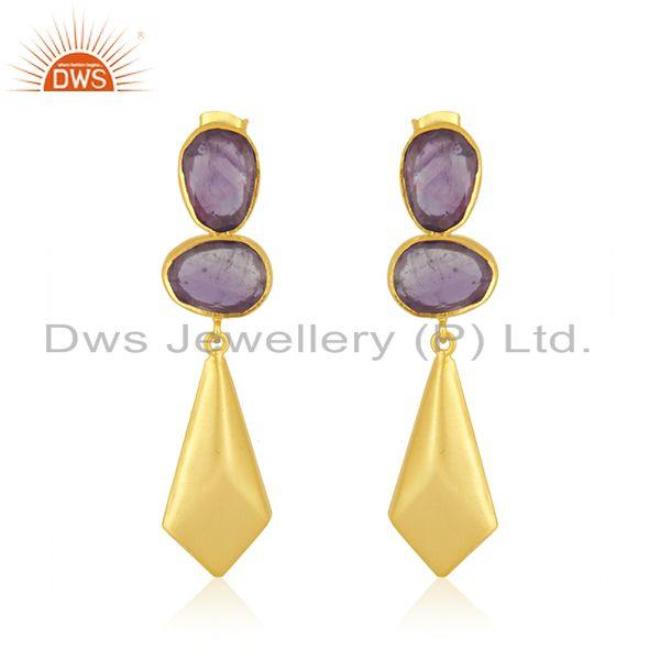 Amethyst Gemstone 14k Gold Plated Brass Fashion Earrings Jewelry Manufacturer