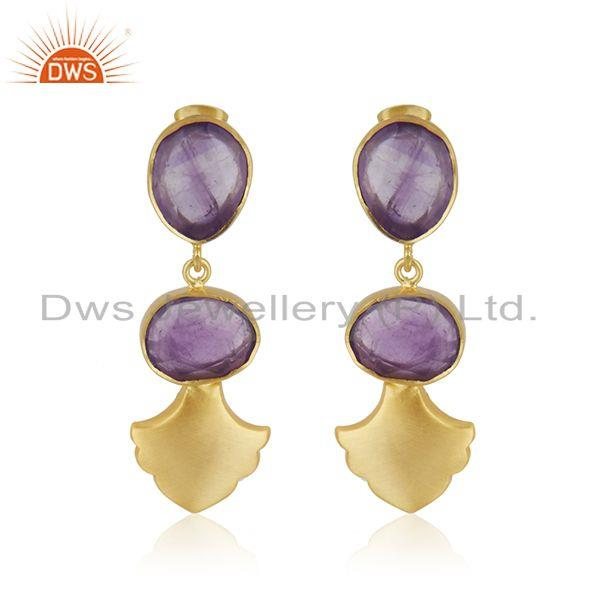Amethyst Gemstone Gold Plated Brass Fashion Earrings Jewellery Manufacturer