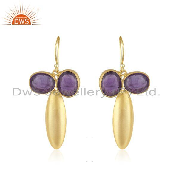 Amethyst Gemstone Gold Plated Brass Fashion Earring Jewellery Manufacturer India