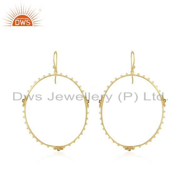 Handmade 925 Silver Gold Plated White Zircon Round Earring Wholesale