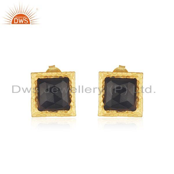 Black Onyx Gemstone Gold Plated Square Girls Stud Earrings