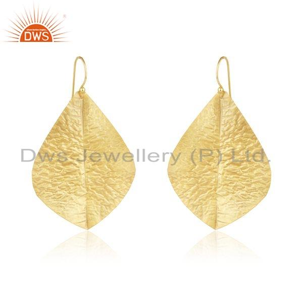 Leaf Design Textured Gold Plated Brass Fashion Earrings For Womens