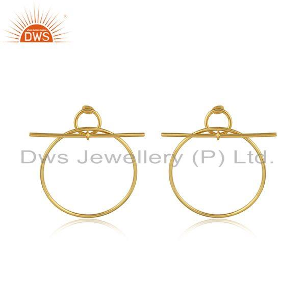 Round gold plated brass handmade statement fashion earring jewelry