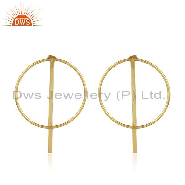 Handmade circle design yellow gold plated brass fashion earrings